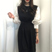 Dress Autumn 2020 Black, khaki, grey Average size Mid length dress singleton  Long sleeves commute Crew neck High waist other Socket other puff sleeve Others 18-24 years old Type H Korean version 31% (inclusive) - 50% (inclusive) other other