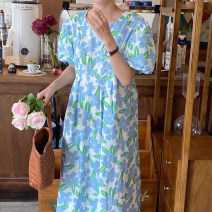 Dress Summer 2021 Blue, purple Average size longuette singleton  Short sleeve commute Crew neck Loose waist Decor Socket other puff sleeve Others 18-24 years old Korean version 31% (inclusive) - 50% (inclusive) other other