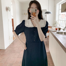 Dress Summer 2021 navy blue S,M,L Mid length dress singleton  Short sleeve commute Doll Collar High waist other Socket other puff sleeve Others 18-24 years old Type A Korean version 31% (inclusive) - 50% (inclusive) other other