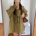 Dress Autumn 2020 Apricot, army green, pink, black Average size Short skirt singleton  Long sleeves commute Lotus leaf collar Loose waist Solid color Socket other Lotus leaf sleeve Others 18-24 years old Type H Korean version 31% (inclusive) - 50% (inclusive) other other