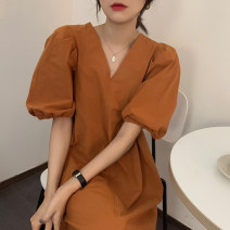 Dress Summer 2021 Blue, orange Average size Middle-skirt singleton  Short sleeve commute V-neck Loose waist Solid color Socket puff sleeve Others 18-24 years old Korean version 31% (inclusive) - 50% (inclusive) other other