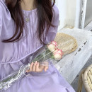 Dress Summer 2020 violet Average size Long sleeves commute Crew neck Solid color pagoda sleeve 18-24 years old 31% (inclusive) - 50% (inclusive) other