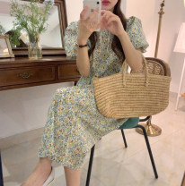 Dress Summer 2021 Green, red Average size longuette singleton  Short sleeve commute Crew neck Loose waist Broken flowers Socket Big swing bishop sleeve Others 18-24 years old Type A Korean version 31% (inclusive) - 50% (inclusive) other other