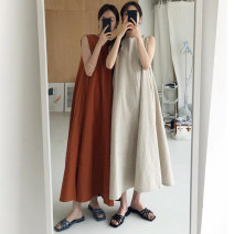 Dress Summer 2020 Beige, brownish red Average size longuette singleton  Sleeveless commute Crew neck Loose waist Solid color Socket other Others 18-24 years old Korean version 31% (inclusive) - 50% (inclusive) other other