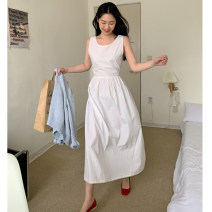 Dress Summer 2021 white Average size longuette singleton  Sleeveless commute Crew neck High waist Solid color Socket A-line skirt puff sleeve Others 18-24 years old Type A Korean version 31% (inclusive) - 50% (inclusive) other other