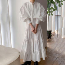 Dress Autumn 2020 White, blue Average size longuette singleton  Long sleeves commute stand collar Loose waist Solid color Socket Cake skirt bishop sleeve Others 18-24 years old Korean version 31% (inclusive) - 50% (inclusive) other other
