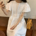 Dress Summer 2021 White, purple Average size Mid length dress singleton  Short sleeve commute Crew neck High waist Solid color Socket A-line skirt Flying sleeve Others 18-24 years old Type A Korean version 31% (inclusive) - 50% (inclusive) other other