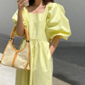 Dress Summer 2021 Black, yellow Average size longuette singleton  Short sleeve commute square neck High waist Solid color Socket A-line skirt puff sleeve Others 18-24 years old Type A Korean version 31% (inclusive) - 50% (inclusive) other other