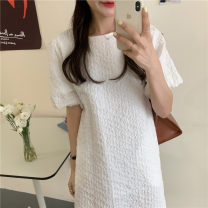 Dress Summer 2021 white Average size Short skirt singleton  Short sleeve commute Crew neck Loose waist Solid color Socket A-line skirt bishop sleeve Others 18-24 years old Type H Korean version 31% (inclusive) - 50% (inclusive) other other
