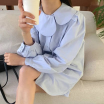Dress Spring 2021 Blue, white Average size Short skirt singleton  Long sleeves commute Doll Collar Loose waist Solid color Single breasted other puff sleeve Others 18-24 years old Type H Korean version 31% (inclusive) - 50% (inclusive) other other
