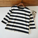 T-shirt Black and white stripes M,L,2L Spring 2020 three quarter sleeve Crew neck easy Regular commute polyester fiber 71% (inclusive) - 85% (inclusive) Simplicity classic Qingguyu