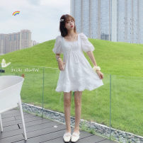 Women's large Summer 2021 White short, white long Large L, s, M singleton  commute Short sleeve Solid color Korean version square neck polyester fiber puff sleeve 065+ 18-24 years old 31% (inclusive) - 50% (inclusive) Middle-skirt
