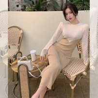 Women's large Spring 2021 S M L XL XXL Dress singleton  commute Self cultivation Socket Long sleeves Solid color Retro Crew neck routine Jimeng 18-24 years old longuette Other 100% Exclusive payment of tmall Pencil skirt