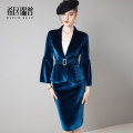 Professional dress suit If you need different sizes, please contact customer service. Retro Blue Spring 2021 Long sleeves T0329 loose coat Suit skirt 25-35 years old Hitch reach / hitchrip Polyester fiber 90.5% polyurethane elastic fiber (spandex) 9.5% Pure e-commerce (online only)