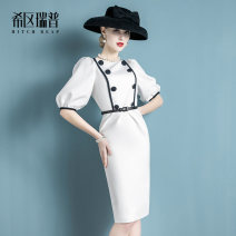 Dress Spring 2020 White Navy XS S M L XL Mid length dress singleton  three quarter sleeve commute Crew neck middle-waisted Solid color zipper Pencil skirt bishop sleeve Others 30-34 years old Type H Heathcliff Retro Button zipper F1085 81% (inclusive) - 90% (inclusive) other polyester fiber