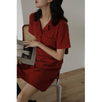 Dress Summer 2021 Red, black S,M,L Middle-skirt singleton  Short sleeve commute V-neck Loose waist Solid color Socket A-line skirt routine Others 18-24 years old Type A Korean version Pocket, button 51% (inclusive) - 70% (inclusive) other cotton