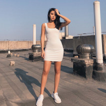 Dress Summer 2020 Black, white, grey S, M Short skirt singleton  Sleeveless street High waist Solid color Socket One pace skirt Others Type X 51% (inclusive) - 70% (inclusive) other other Europe and America