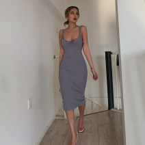 Dress Summer 2020 S, M Mid length dress singleton  Sleeveless street V-neck High waist Solid color Socket One pace skirt straps 71% (inclusive) - 80% (inclusive) cotton Europe and America