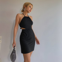 Dress Summer 2020 black S, M Short skirt singleton  Sleeveless street High waist Solid color Socket One pace skirt Hanging neck style Type X 51% (inclusive) - 70% (inclusive) cotton Europe and America