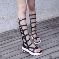 Sandals 34 35 36 37 38 39 40 White black Other / other PU Pinch toe Muffin bottom Middle heel (3-5cm) Summer of 2018 zipper Europe and America Adhesive shoes Youth (18-40 years old) polyurethane daily Bag heel Catwalk mesh ankle strap Roman style long and tube-shaped Lateral space Cool boots