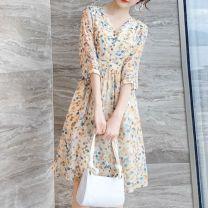 Dress Spring 2021 Decor M,L,XL,2XL,3XL Mid length dress singleton  routine Button, zipper, print