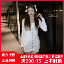 Dress Winter 2020 White, black S,M,L Short skirt singleton  Long sleeves square neck High waist One pace skirt routine 25-29 years old Cloud Season 30% and below polyester fiber
