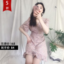 Dress Summer of 2019 Pink S,M,L Short skirt singleton  Short sleeve Sweet V-neck High waist Decor Socket Ruffle Skirt puff sleeve Others Type A daiisy Ruffle, lace up, zipper More than 95% Chiffon polyester fiber solar system
