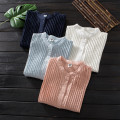shirt Dark blue, light blue, white, skin pink Average size Autumn 2020 cotton 96% and above Long sleeves Sweet Regular stand collar Single row multi button routine Solid color Straight cylinder solar system