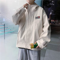 Jacket Other / other Youth fashion Black, Khaki S. M, l, XL, 2XL, XS plus small routine easy Other leisure spring Long sleeves Wear out Hood tide teenagers routine Zipper placket 2021 Embroidery