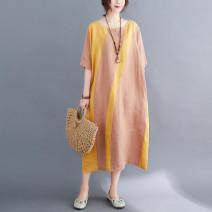 Women's large Summer 2020 Green, yellow Large XL, large L Dress singleton  commute easy Socket Short sleeve shape Korean version Crew neck Medium length cotton routine 71% (inclusive) - 80% (inclusive) Medium length other