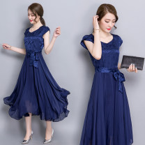 Dress Summer 2016 Pink, red, blue, silver grey M,L,XL,2XL,3XL,4XL singleton  Short sleeve commute V-neck middle-waisted Decor Socket Big swing routine Others Type A Other / other Korean version Lace up, stitching, zipper, print 81% (inclusive) - 90% (inclusive) Silk and satin silk