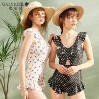 one piece  Gaingel S M L XL White cherry black dot Triangle one piece swimsuit With chest pad without steel support YWO21008 Spring 2021 yes female Sleeveless Casual swimsuit