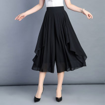 Casual pants S,M,L,XL,2XL,3XL,4XL,5XL,6XL Summer 2021 Cropped Trousers Wide leg pants High waist commute Thin money 96% and above Other / other other Korean version Three dimensional cutting polyester fiber Asymmetry