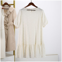 Dress Spring 2021 Beige, white dirty, beige less built in Average size Mid length dress Short sleeve commute Elastic waist 30% and below other