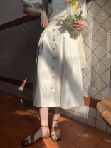 skirt Spring 2021 S. M, l, model size S White, light brown Mid length dress commute High waist Umbrella skirt Solid color Type A K9017 breasted skirt (4.6) 31% (inclusive) - 50% (inclusive) cotton Button Korean version
