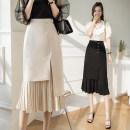 skirt Spring 2021 S,M,L,XL Apricot, black Mid length dress Versatile High waist Pleated skirt Type H 25-29 years old