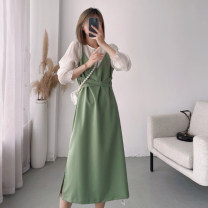 Dress Spring 2021 Green [long sleeve], apricot [long sleeve], black [long sleeve], green [short sleeve], apricot [short sleeve], blue [short sleeve], black [short sleeve] M, L Mid length dress singleton  Long sleeves commute Crew neck High waist Solid color Socket A-line skirt Lotus leaf sleeve other