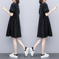 Dress Summer 2021 Picture color S,M,L,XL,2XL Mid length dress singleton  Short sleeve commute Crew neck Loose waist Solid color Socket A-line skirt routine Others Type A Tang Rui Korean version Pocket, button, 3D