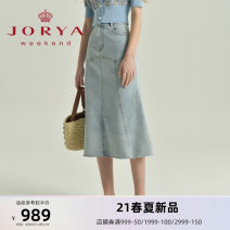skirt Spring 2021 S M L XL blue Mid length dress commute High waist A-line skirt Type A 25-29 years old EJWBBQ13 More than 95% JORYA weekend other Button Simplicity Other 100% Same model in shopping mall (sold online and offline)