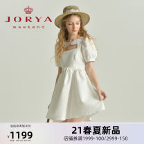 Dress Spring 2021 White (pre-sale, delivery within 30 days after payment) S M L XL Short skirt Short sleeve Sweet Doll Collar middle-waisted zipper Lantern skirt puff sleeve 25-29 years old T-type JORYA weekend Hollow lace EJWBBJ17 More than 95% polyester fiber Polyester 100% princess