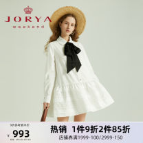 Dress Spring 2021 white S M L XL Short skirt Long sleeves Sweet middle-waisted Single breasted routine 25-29 years old Type H JORYA weekend More than 95% other Other 100% college Same model in shopping mall (sold online and offline)