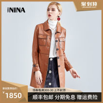 leather clothing Nobel Nina Spring 2021 S M L XL XXL Black red agate yellow Medium length Long sleeves Self cultivation commute square neck other routine NINA8811Y Sheepskin pocket 25-29 years old Sheepskin Same model in shopping mall (sold online and offline)