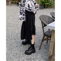 skirt Spring 2021 Average size Black, white Mid length dress High waist Irregular Solid color Type A