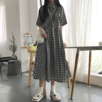 Dress Summer 2021 Round button dress, star button dress Average size longuette singleton  Short sleeve commute Polo collar High waist lattice Socket A-line skirt routine Others 18-24 years old Type A Korean version Button 81% (inclusive) - 90% (inclusive) other