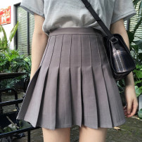 skirt Summer 2021 S, M Gray, white, black Short skirt Versatile High waist A-line skirt Solid color 18-24 years old 91% (inclusive) - 95% (inclusive) polyester fiber fold