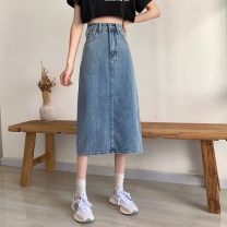 skirt Summer 2021 S,M,L,XL blue Mid length dress commute High waist A-line skirt Solid color Type A 18-24 years old 4#1 71% (inclusive) - 80% (inclusive) other other Korean version
