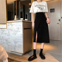 skirt Summer 2021 S,M,L,XL Apricot, black Mid length dress commute High waist A-line skirt Solid color Type A 18-24 years old 4¥8 71% (inclusive) - 80% (inclusive) other Other / other other Hollowing out Korean version
