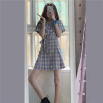 Dress Spring 2021 Picture color S, M Mid length dress singleton  Short sleeve commute tailored collar High waist lattice double-breasted A-line skirt routine Others 18-24 years old Type A Korean version Button 7%22 other