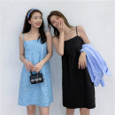 Dress Summer 2021 Blue, black S, M Mid length dress singleton  Sleeveless commute other High waist Solid color Socket other routine Others 18-24 years old Type H Other / other Korean version Splicing 3¥13 71% (inclusive) - 80% (inclusive) other other