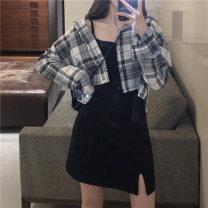 shirt Shirt, vest, skirt S,M,L,XL Summer 2021 other 31% (inclusive) - 50% (inclusive) Long sleeves commute Medium length other Single row multi button routine lattice 18-24 years old Straight cylinder Korean version 4¥1 polyester cotton